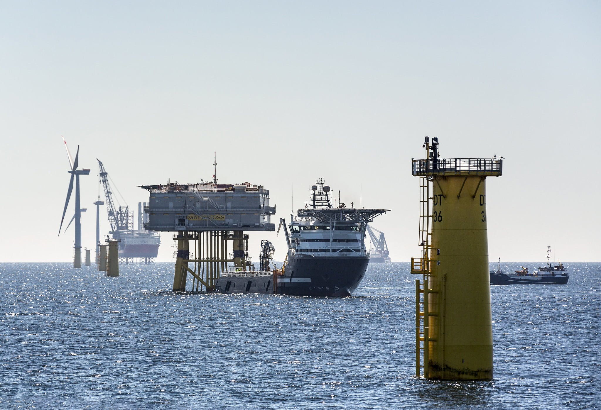 Offshore wind farm in construction