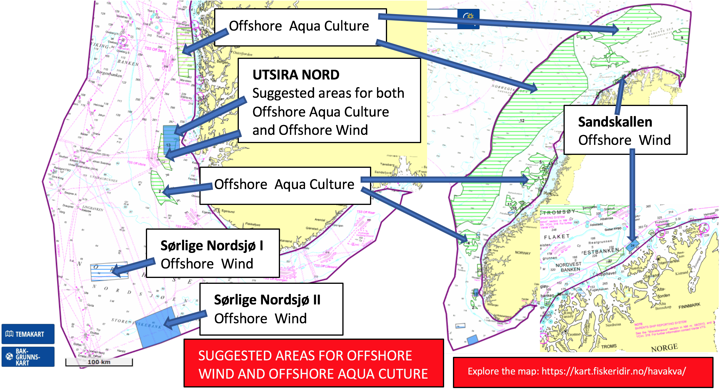 Suggested areas for offshore wind and offshore aquaculture